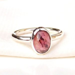 Shop Garnet Rings! Natural Red Garnet Ring, Silver Ring, Simple Band Ring, Womens Ring, 925 Sterling Silver, Handmade Ring, Gift Ring, Oval Gemstone Ring | Natural genuine Garnet rings, simple unique handcrafted gemstone rings. #rings #jewelry #shopping #gift #handmade #fashion #style #affiliate #ad