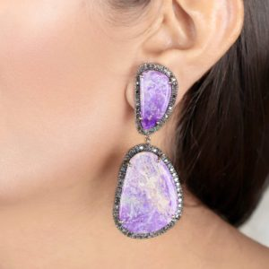 Shop Sugilite Earrings! Genuine Pave Diamond 53.47 Ct Sugilite Gemstone Dangle Earrings 14k Yellow Gold 925 Sterling Silver Fashion Jewelry Xmas Gifts for Her | Natural genuine Sugilite earrings. Buy crystal jewelry, handmade handcrafted artisan jewelry for women.  Unique handmade gift ideas. #jewelry #beadedearrings #beadedjewelry #gift #shopping #handmadejewelry #fashion #style #product #earrings #affiliate #ad