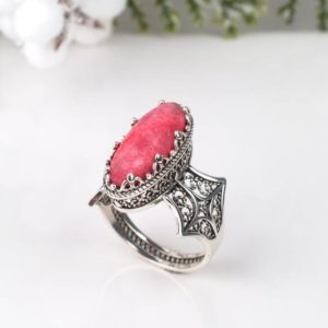 Shop Aragonite Jewelry! Genuine Pink Aragonite Silver Cocktail Ring, 925 Sterling Silver Filigree Oval Elongated Ornate Pink Aragonite Ring, Gift Boxed for Her | Natural genuine Aragonite jewelry. Buy crystal jewelry, handmade handcrafted artisan jewelry for women.  Unique handmade gift ideas. #jewelry #beadedjewelry #beadedjewelry #gift #shopping #handmadejewelry #fashion #style #product #jewelry #affiliate #ad