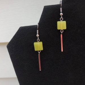 Shop Serpentine Earrings! Geometric Earrings, Green Earrings, Serpentine Earrings, Chartreuse, Hypoallergenic, Surgical Steel Hooks, Green Jewelry, Gift For Her | Natural genuine Serpentine earrings. Buy crystal jewelry, handmade handcrafted artisan jewelry for women.  Unique handmade gift ideas. #jewelry #beadedearrings #beadedjewelry #gift #shopping #handmadejewelry #fashion #style #product #earrings #affiliate #ad