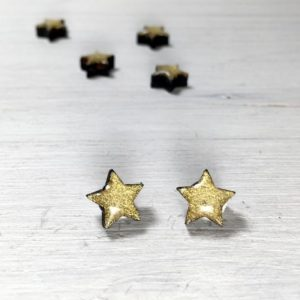 Gold Star Wooden Stud Earrings – Christmas Glitter Earring Studs – Hypoallergenic Titanium Earrings – Small Minimal Earrings – Star Gifts | Natural genuine Gemstone earrings. Buy crystal jewelry, handmade handcrafted artisan jewelry for women.  Unique handmade gift ideas. #jewelry #beadedearrings #beadedjewelry #gift #shopping #handmadejewelry #fashion #style #product #earrings #affiliate #ad