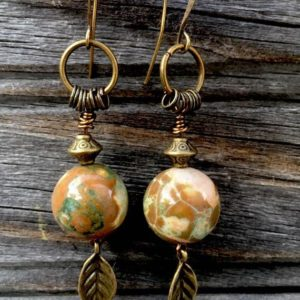 Shop Rainforest Jasper Earrings! Gorgeous Semiprecious Stone Rhyolite Rainforest Jasper Beads Dangle Earrings Leaf Charms Dangle Hippie Earrings Boho Artisan, Antique Bronze | Natural genuine Rainforest Jasper earrings. Buy crystal jewelry, handmade handcrafted artisan jewelry for women.  Unique handmade gift ideas. #jewelry #beadedearrings #beadedjewelry #gift #shopping #handmadejewelry #fashion #style #product #earrings #affiliate #ad