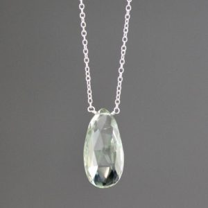 Shop Green Amethyst Pendants! Green Amethyst Necklace – Green Gemstone Pendant – Single Stone Necklace – Minimalist Necklace | Natural genuine Green Amethyst pendants. Buy crystal jewelry, handmade handcrafted artisan jewelry for women.  Unique handmade gift ideas. #jewelry #beadedpendants #beadedjewelry #gift #shopping #handmadejewelry #fashion #style #product #pendants #affiliate #ad