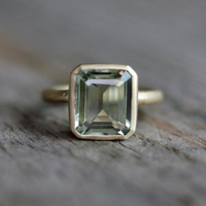 Shop Healing Gemstone Rings! Emerald Cut Green Amethyst Ring, Prasiolite Ring in Recycled Yellow Gold, Octagon Prasiolite Gemstone Ring, Amethyst Jewellery | Natural genuine Gemstone rings, simple unique handcrafted gemstone rings. #rings #jewelry #shopping #gift #handmade #fashion #style #affiliate #ad