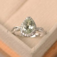 Natural Green Amethyst Ring, Pear Cut, Sterling Silver, Halo Wedding Ring For Women | Natural genuine Gemstone jewelry. Buy handcrafted artisan wedding jewelry.  Unique handmade bridal jewelry gift ideas. #jewelry #beadedjewelry #gift #crystaljewelry #shopping #handmadejewelry #wedding #bridal #jewelry #affiliate #ad