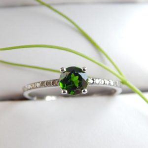 Shop Diopside Rings! Green Chrome Diopside Ring Halo With Natural Diamond 925 Sterling Silver Cocktail Ring Aesthetic Green Ring Valentines Gift For Her | Natural genuine Diopside rings, simple unique handcrafted gemstone rings. #rings #jewelry #shopping #gift #handmade #fashion #style #affiliate #ad