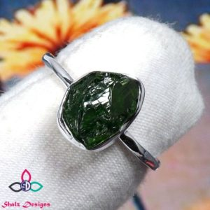Shop Diopside Rings! Green Chrome Diopside Rough Ring, Rough Ring, Raw Stone Ring, 925 Sterling Silver Ring, Silver Stone Ring, Unique Ring, Raw Ring,Silver Ring | Natural genuine Diopside rings, simple unique handcrafted gemstone rings. #rings #jewelry #shopping #gift #handmade #fashion #style #affiliate #ad