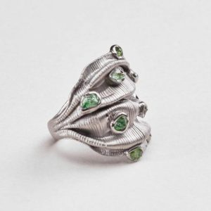 Shop Diopside Rings! Handmade 925 Sterling Silver Carilyn Chrome Diopside Ring with Gold and Black Rhodium Plating by German Kabirski | Natural genuine Diopside rings, simple unique handcrafted gemstone rings. #rings #jewelry #shopping #gift #handmade #fashion #style #affiliate #ad