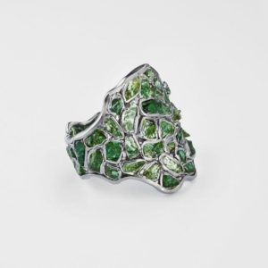 Shop Diopside Rings! Handmade 925 Sterling Silver Nerissa Chrome Diopside Ring with All Black Rhodium Plating by German Kabirski | Natural genuine Diopside rings, simple unique handcrafted gemstone rings. #rings #jewelry #shopping #gift #handmade #fashion #style #affiliate #ad