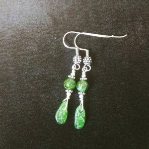 Shop Diopside Earrings! Handmade Genuine Gemstone Earrings, Chrome Diopside, Sterling Silver Dangle Earrings. Chrome Diopside Earrings | Natural genuine Diopside earrings. Buy crystal jewelry, handmade handcrafted artisan jewelry for women.  Unique handmade gift ideas. #jewelry #beadedearrings #beadedjewelry #gift #shopping #handmadejewelry #fashion #style #product #earrings #affiliate #ad