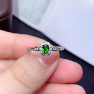 Shop Diopside Rings! Handmade Green Diopside Ring, Sterling Silver Band Ring, Dainty Gemstone CZ Diamond Ring, Christmas Gift for Her | Natural genuine Diopside rings, simple unique handcrafted gemstone rings. #rings #jewelry #shopping #gift #handmade #fashion #style #affiliate #ad