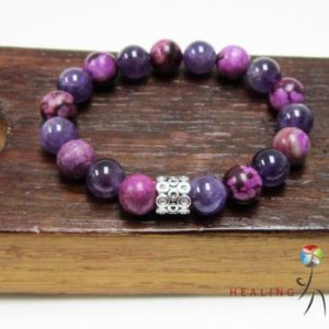 Healing Head Ache Bracelet Headache Healing Bracelet Amethyst Sugilite Bracelet Healing Crown Chakra Bracelet Headache Relief Bracelet | Natural genuine Sugilite bracelets. Buy crystal jewelry, handmade handcrafted artisan jewelry for women.  Unique handmade gift ideas. #jewelry #beadedbracelets #beadedjewelry #gift #shopping #handmadejewelry #fashion #style #product #bracelets #affiliate #ad