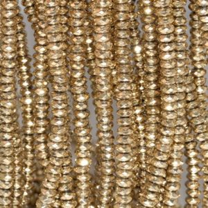 Shop Hematite Faceted Beads! 5x2mm 18k Gold Hematite Gemstone Faceted Rondelle Loose Beads 15.5 Inch Full Strand (80003454-a49) | Natural genuine faceted Hematite beads for beading and jewelry making.  #jewelry #beads #beadedjewelry #diyjewelry #jewelrymaking #beadstore #beading #affiliate #ad