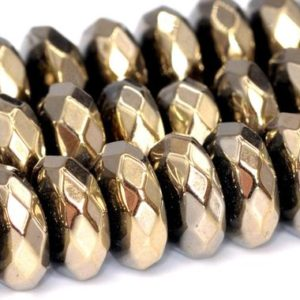 """Shop Hematite Beads! 7x3MM Champagne Gold Hematite Beads AAA Natural Gemstone Faceted Rondelle Loose Beads 15.5"""" / 7"""" Bulk Lot Options (101681) 