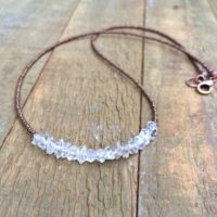Herkimer Diamond Necklace, Minimalist Stone Necklace, Ethical Diamond Quartz Choker Necklace, Stacking Necklace, Tiny Beaded Necklace | Natural genuine Gemstone jewelry. Buy crystal jewelry, handmade handcrafted artisan jewelry for women.  Unique handmade gift ideas. #jewelry #beadedjewelry #beadedjewelry #gift #shopping #handmadejewelry #fashion #style #product #jewelry #affiliate #ad