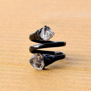 Herkimer Diamond Ring | Electroplated Ring | Copper Ring | Gift For Her | Gift For Women | Ring For Women | Ring For Her   [GFS3072] | Natural genuine Herkimer Diamond rings, simple unique handcrafted gemstone rings. #rings #jewelry #shopping #gift #handmade #fashion #style #affiliate #ad