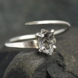 Shop Herkimer Diamond Jewelry! Unique Herkimer Diamond Sterling Silver Horseshoe Nail Engagement Ring. Engagement Ring. Unique Engagement Ring. Diamond Engagement Ring. | Natural genuine Herkimer Diamond jewelry. Buy handcrafted artisan wedding jewelry.  Unique handmade bridal jewelry gift ideas. #jewelry #beadedjewelry #gift #crystaljewelry #shopping #handmadejewelry #wedding #bridal #jewelry #affiliate #ad