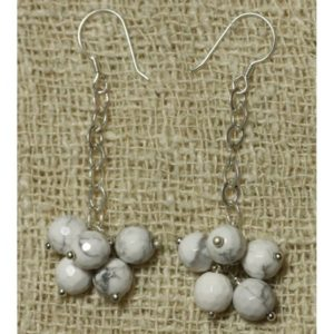 Shop Howlite Earrings! Earrings 925 sterling silver and faceted Howlite | Natural genuine Howlite earrings. Buy crystal jewelry, handmade handcrafted artisan jewelry for women.  Unique handmade gift ideas. #jewelry #beadedearrings #beadedjewelry #gift #shopping #handmadejewelry #fashion #style #product #earrings #affiliate #ad
