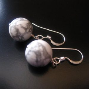 Shop Howlite Earrings! White Earrings, White Howlite Earrings, White Howlite Sterling Silver Earrings, White Jewelry, White Howlite Jewelry, 10mm White Globe | Natural genuine Howlite earrings. Buy crystal jewelry, handmade handcrafted artisan jewelry for women.  Unique handmade gift ideas. #jewelry #beadedearrings #beadedjewelry #gift #shopping #handmadejewelry #fashion #style #product #earrings #affiliate #ad