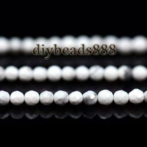 Shop Howlite Faceted Beads! Howlite,15 inch full strand Natural White Howlite faceted round beads 3mm | Natural genuine faceted Howlite beads for beading and jewelry making.  #jewelry #beads #beadedjewelry #diyjewelry #jewelrymaking #beadstore #beading #affiliate #ad