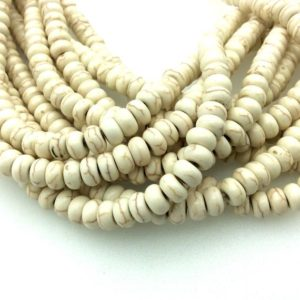 "Shop Howlite Rondelle Beads! 4mm X 8mm Smooth White / ivory / brown Howlite Rondelle Shaped Beads – Sold By 15"" Strands (approx. 84 Beads) – Quality Gemstone 