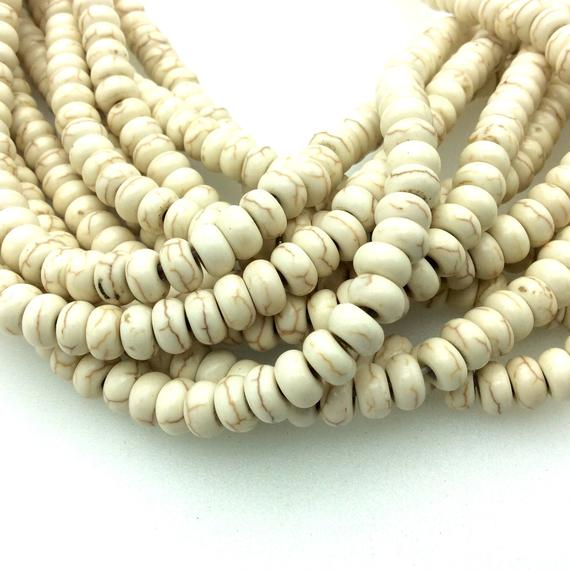 """4mm X 8mm Smooth White/beige/brown Howlite Rondelle Shaped Beads - Sold By 15"""" Strands (approx. 84 Beads) - Quality Gemstone"""