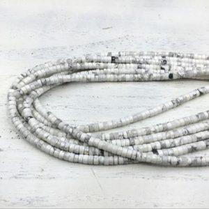 "Shop Howlite Rondelle Beads! White Howlite Heishi Beads Rondelle Beads Tyre Spacer Beads 4x2mm Howlite Gemstone Rondelles Beading Jewelry Supplies 15.5""/Full Strand 
