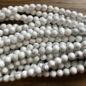 Shop Howlite Round Beads! Natural Howlite 6mm 8mm 10mm Round Gemstone Beads –15.5 inch strand 1 strand/3 strands | Natural genuine round Howlite beads for beading and jewelry making.  #jewelry #beads #beadedjewelry #diyjewelry #jewelrymaking #beadstore #beading #affiliate #ad