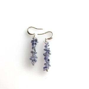 Shop Iolite Earrings! Iolite raw crystal earrings, Iolite earrings, anxiety jewelry, detox stress relief | Natural genuine Iolite earrings. Buy crystal jewelry, handmade handcrafted artisan jewelry for women.  Unique handmade gift ideas. #jewelry #beadedearrings #beadedjewelry #gift #shopping #handmadejewelry #fashion #style #product #earrings #affiliate #ad