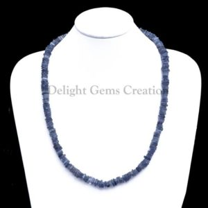 Shop Iolite Necklaces! Natural Iolite Smooth 5-6mm Heishi Square Beads Necklace, Iolite 18 Inches Full Strand Finished Necklace, Iolite Jewelry, Beaded Necklace | Natural genuine Iolite necklaces. Buy crystal jewelry, handmade handcrafted artisan jewelry for women.  Unique handmade gift ideas. #jewelry #beadednecklaces #beadedjewelry #gift #shopping #handmadejewelry #fashion #style #product #necklaces #affiliate #ad