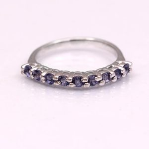 Shop Iolite Rings! Iolite Half Eternity Ring,Dainty Stacking Ring,Vintage Thin Ring,Art Deco Stacking Ring,Anniversary Gift For Women Her,925 Sterling Silver- | Natural genuine Iolite rings, simple unique handcrafted gemstone rings. #rings #jewelry #shopping #gift #handmade #fashion #style #affiliate #ad