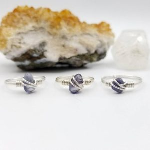 Shop Iolite Rings! Iolite Ring, Silver Wire Wrapped Ring, Iolite Crystal Jewelry, Crystal Ring | Natural genuine Iolite rings, simple unique handcrafted gemstone rings. #rings #jewelry #shopping #gift #handmade #fashion #style #affiliate #ad