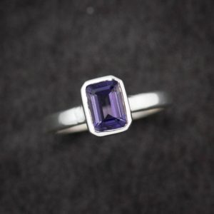 Shop Iolite Jewelry! Water Sapphire Ring, Emerald Cut Iolite Ring, Eco Silver Stacking Ring, Gemstone Solitaire Ring,Water sapphire, Size 7.5 | Natural genuine Iolite jewelry. Buy crystal jewelry, handmade handcrafted artisan jewelry for women.  Unique handmade gift ideas. #jewelry #beadedjewelry #beadedjewelry #gift #shopping #handmadejewelry #fashion #style #product #jewelry #affiliate #ad