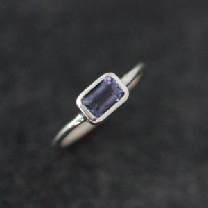 Water Sapphire Ring, Iolite Rectangular Octagon Stacking Rings,  Periwinkle Blue Gemstone Solitaire Ring With Low Profile | Natural genuine Gemstone rings, simple unique handcrafted gemstone rings. #rings #jewelry #shopping #gift #handmade #fashion #style #affiliate #ad