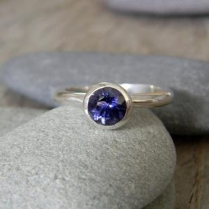 Shop Iolite Rings! Iolite, Water Sapphire Solitaire Ring, Nesting Ring or Stackable Ring in 925 Silver, Gemstone Stacking Rings | Natural genuine Iolite rings, simple unique handcrafted gemstone rings. #rings #jewelry #shopping #gift #handmade #fashion #style #affiliate #ad