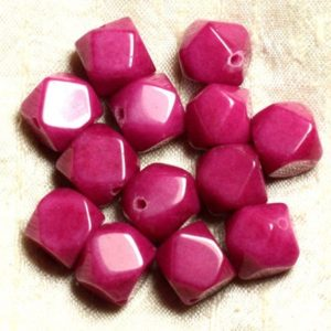 Shop Jade Chip & Nugget Beads! 2PC – stone – Fuchsia pink Jade beads faceted Nuggets 14-15mm 4558550002525 Cubes | Natural genuine chip Jade beads for beading and jewelry making.  #jewelry #beads #beadedjewelry #diyjewelry #jewelrymaking #beadstore #beading #affiliate #ad