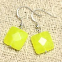 Earrings 925 Sterling Silver And Neon Yellow Jade – Stone 14mm Faceted Square | Natural genuine Gemstone jewelry. Buy crystal jewelry, handmade handcrafted artisan jewelry for women.  Unique handmade gift ideas. #jewelry #beadedjewelry #beadedjewelry #gift #shopping #handmadejewelry #fashion #style #product #jewelry #affiliate #ad