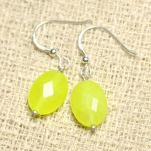 Shop Jade Earrings! Earrings 925 sterling silver and neon yellow Jade – stone 14mm faceted ovals | Natural genuine Jade earrings. Buy crystal jewelry, handmade handcrafted artisan jewelry for women.  Unique handmade gift ideas. #jewelry #beadedearrings #beadedjewelry #gift #shopping #handmadejewelry #fashion #style #product #earrings #affiliate #ad