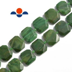 """Shop Jade Faceted Beads! African Jade Rectangle Slice Faceted Octagon Beads Size 18x25mm 15.5"""" Strand 