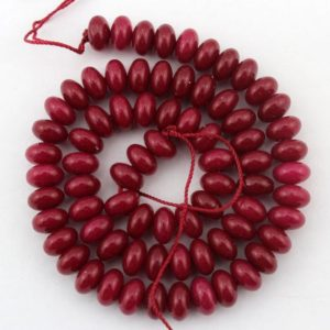 Shop Jade Rondelle Beads! Smooth Red Jade Rondelle Beads,Jade strand,spacer beads.Loose gemstone beads–5*8mm—15  inches—-80 Pcs–EBT99 | Natural genuine rondelle Jade beads for beading and jewelry making.  #jewelry #beads #beadedjewelry #diyjewelry #jewelrymaking #beadstore #beading #affiliate #ad