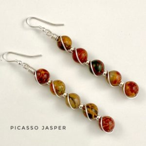 Shop Jasper Earrings! Abstract earrings, Statement earrings, Picasso Jasper earrings, Sterling silver Bohemian Earrings | Natural genuine Jasper earrings. Buy crystal jewelry, handmade handcrafted artisan jewelry for women.  Unique handmade gift ideas. #jewelry #beadedearrings #beadedjewelry #gift #shopping #handmadejewelry #fashion #style #product #earrings #affiliate #ad