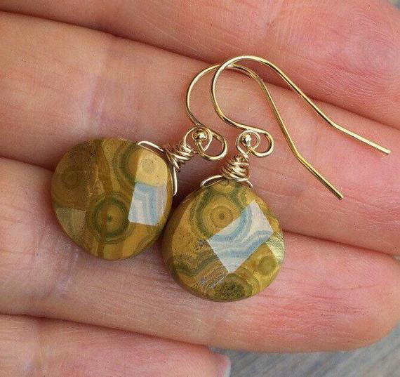 Picasso Jasper  Earrings. Earthy Brown Stones. Gold, Rose Gold Or Sterling Silver. Wire Wrapped