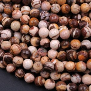 "Shop Jasper Faceted Beads! Faceted Zebra Jasper 4mm 6mm 8mm 10mm Round Beads 15.5"" Strand 