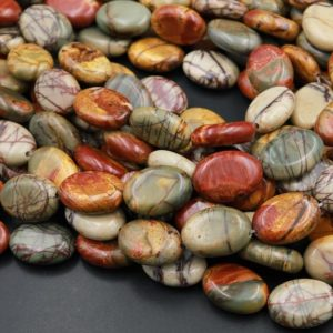 """Shop Jasper Bead Shapes! Red Creek Jasper Bead 14mm 18mm Oval Earthy Red Green Yellow Brown Natural Cherry Creek Multi Color Picasso Jasper Oval Bead 16"""" Strand 