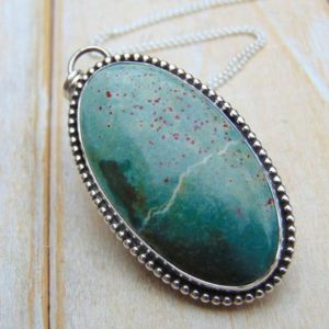 Solar Jasper Pendant – Sterling Silver Necklace – Silver Pendant – Gemstone Jewellery – Jasper Necklace – Green Stone Necklace | Natural genuine Jasper pendants. Buy crystal jewelry, handmade handcrafted artisan jewelry for women.  Unique handmade gift ideas. #jewelry #beadedpendants #beadedjewelry #gift #shopping #handmadejewelry #fashion #style #product #pendants #affiliate #ad