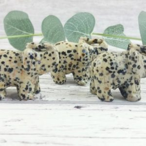 Shop Jasper Shapes! Dalmatian Jasper Lucky Elephant, Reiki Infused Gemstone Carving Animal Lover Gift | Natural genuine stones & crystals in various shapes & sizes. Buy raw cut, tumbled, or polished gemstones for making jewelry or crystal healing energy vibration raising reiki stones. #crystals #gemstones #crystalhealing #crystalsandgemstones #energyhealing #affiliate #ad