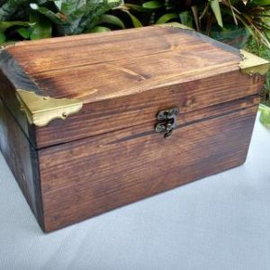 Shop Storage for Beading Supplies! Keepsake Box with Decorative Corners, Christmas Gift Wooden Box, Mens Valet Box w. Optional Wood Carved Engraving, Custom Mens Jewelry Box | Shop jewelry making and beading supplies, tools & findings for DIY jewelry making and crafts. #jewelrymaking #diyjewelry #jewelrycrafts #jewelrysupplies #beading #affiliate #ad