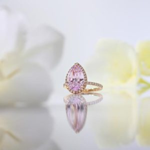 Shop Kunzite Jewelry! Pear Shape Kunzite Ring | Natural genuine Kunzite jewelry. Buy crystal jewelry, handmade handcrafted artisan jewelry for women.  Unique handmade gift ideas. #jewelry #beadedjewelry #beadedjewelry #gift #shopping #handmadejewelry #fashion #style #product #jewelry #affiliate #ad