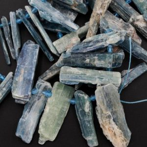 "Shop Kyanite Chip & Nugget Beads! Rough Raw Natural Bicolor Kyanite Beads Rare Blue Green Kyanite Unpolished Freeform Irregular Long Spike Rectangle Gemstone 15.5"" Strand 