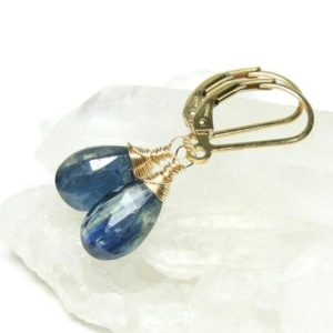 Shop Kyanite Earrings! Blue Kyanite Earrings Gold Filled or Sterling Silver wire wrapped natural gemstone dainty dangle drops March birthstone gift for mom 6103 | Natural genuine Kyanite earrings. Buy crystal jewelry, handmade handcrafted artisan jewelry for women.  Unique handmade gift ideas. #jewelry #beadedearrings #beadedjewelry #gift #shopping #handmadejewelry #fashion #style #product #earrings #affiliate #ad